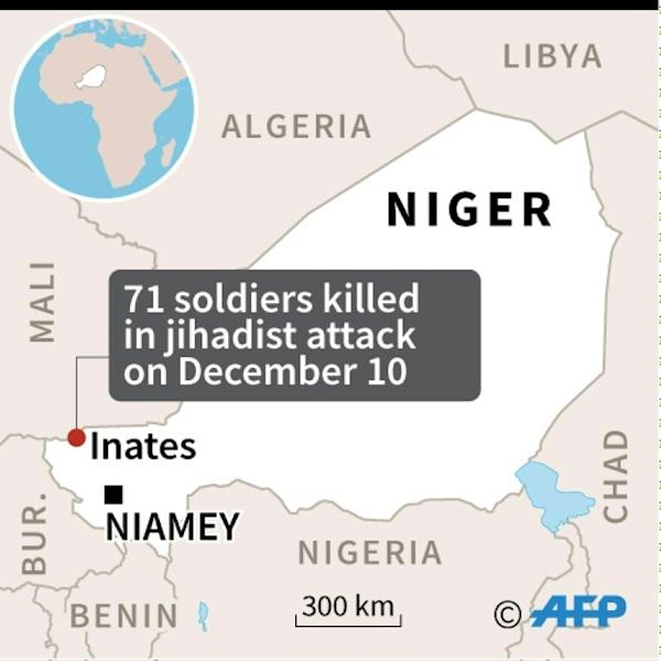 Map of Niger locating the jihadist attack on a military camp that killed at least 71 soldiers on Tuesday