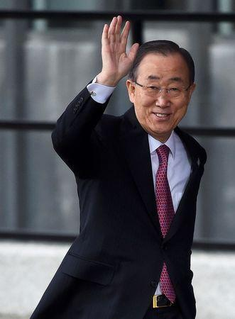 United Nations Secretary General Ban Ki-moon waves as he arrives at the donors Conference for Syria in London, Britain February 4, 2016. REUTERS/Toby Melville