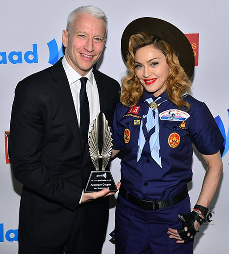 Anderson Cooper Thanks Boyfriend Ben Maisani at GLAAD Awards, Madonna Honors CNN Anchor in Boy Scout Uniform