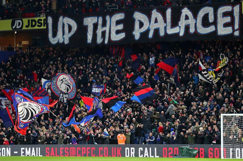 Members of the group were at the game on Monday to support Palace from different areas of the ground: Getty Images