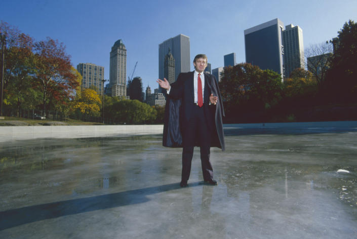 American businessman Donald Trump standing on the ice of Wollman Rink in Central Park, Manhattan, New York City, October 1986. (Ted Thai/The LIFE Picture Collection via Getty Images)