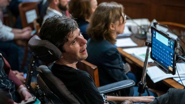 PHOTO: Ady Barkan, a high-profile health care activist who suffers from ALS, testifies before the House Rules Committee at a hearing on a 'Medicare for All' bill for government-provided health care, on Capitol Hill in Washington, April 30, 2019. (J. Scott Applewhite/AP, FILE)