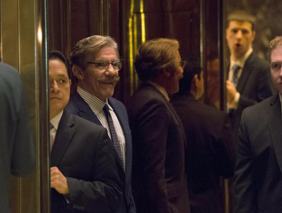 <p>Geraldo Rivera arrives for a meeting with President-elect Donald Trump AT Trump Tower on January 13, 2017 in New York.</p> (Photo by BRYAN R. SMITH/AFP via Getty Images)