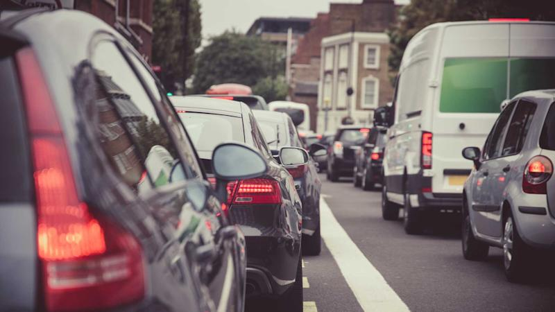 Heavy traffic on a London street