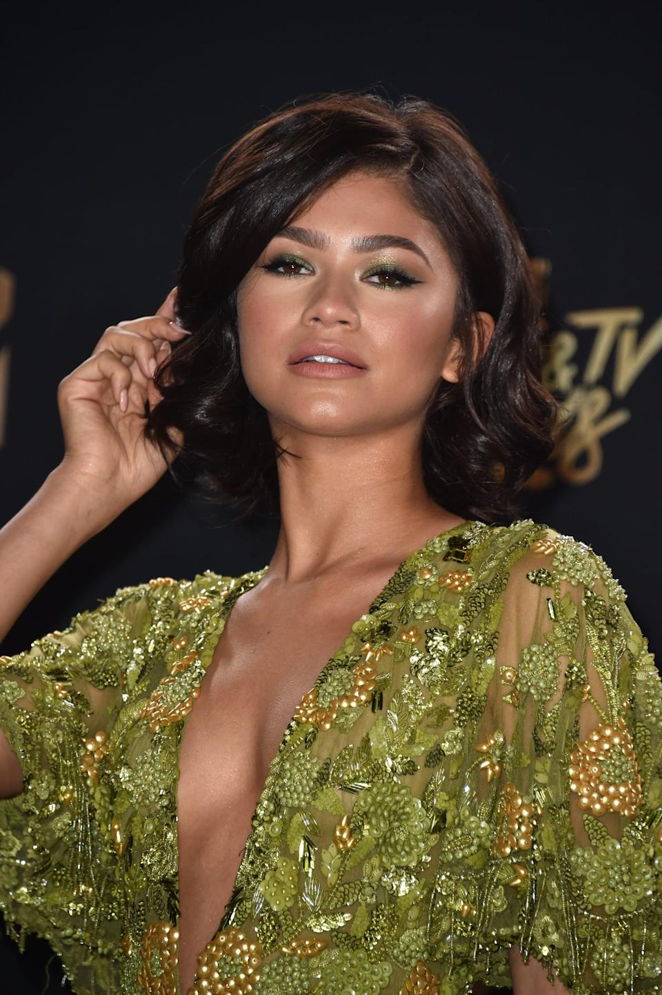 "<p><a class=""link rapid-noclick-resp"" href=""https://www.popsugar.com/Zendaya"" rel=""nofollow noopener"" target=""_blank"" data-ylk=""slk:Zendaya"">Zendaya</a> looked glamorous at the MTV Movie &amp; TV Awards in 2017 with her curled bob.</p>"