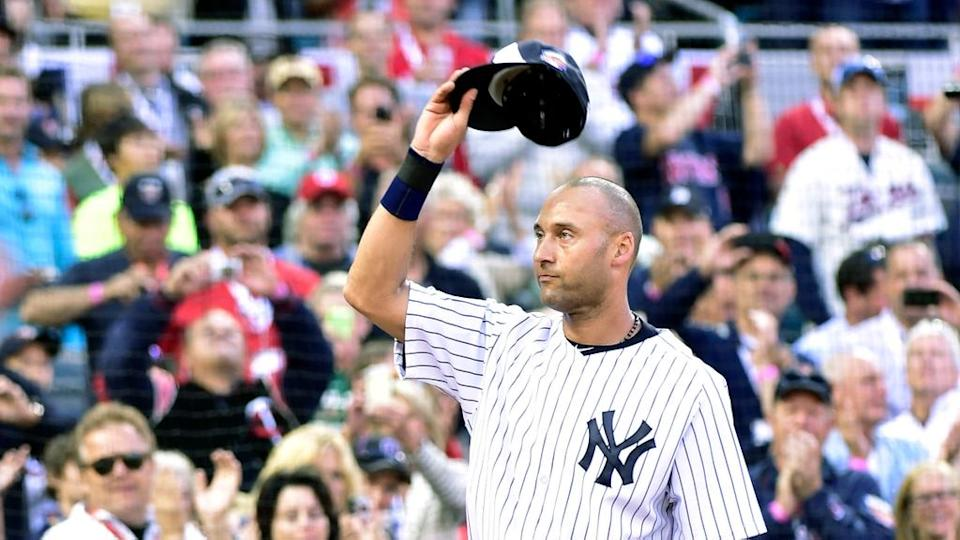 American League infielder Derek Jeter (2) of the New York Yankees waves to the crowd as he is replaced in the fourth inning during the 2014 MLB All Star Game at Target Field.