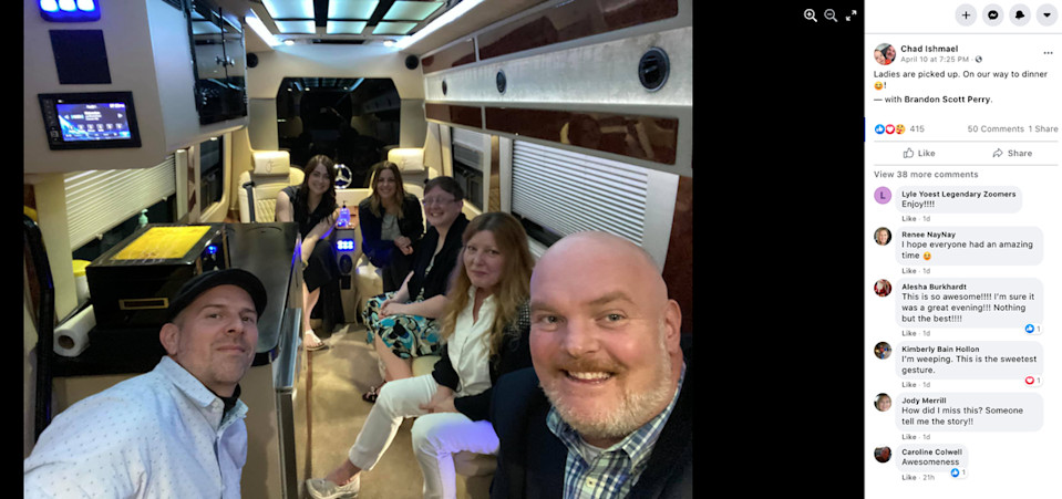 Jeff Ruby sent the corporate van to pick up Lovette, Wall and the rest of the group.