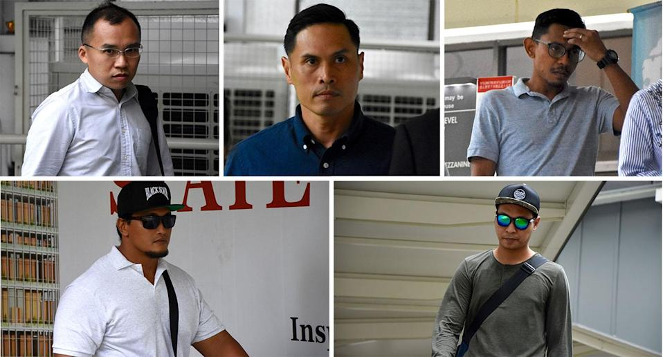 The 5 SCDF personnel charged over the drowning of an NSF in May 2018. Clockwise from top left: LTA Kenneth Chong Chee Boon, SWO1 Nazhan Nazi, WO1 Farid Saleh, SSG Fatwa Mahmood and SSG Adighazali Suhaimi. (Photo: Suhaile MD/Yahoo News Singapore)