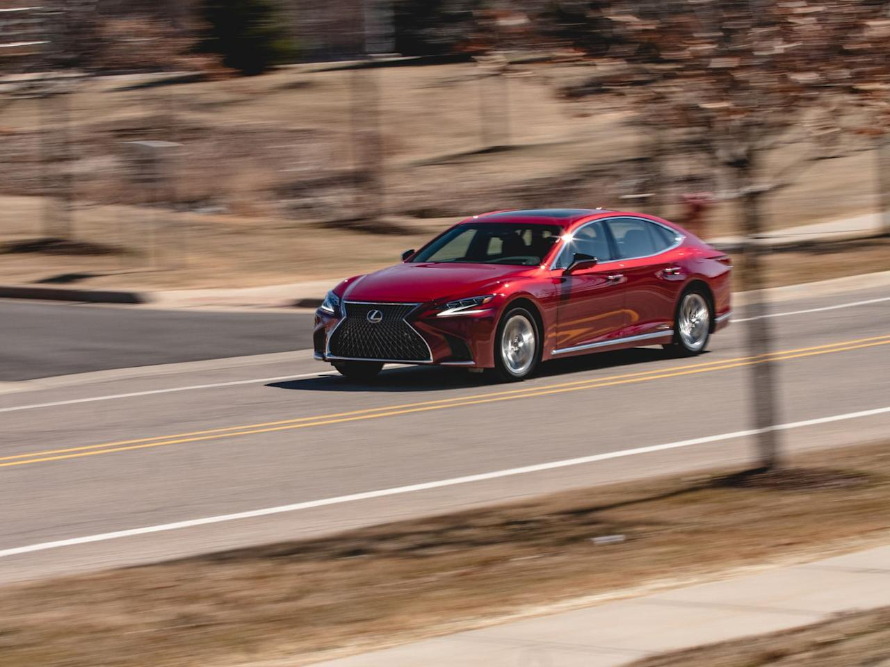 "<p>Three power units-a 3.5-liter V-6 capable of Atkinson-cycle operation and two electric motor/generators-power the big sedan. Combined output is 354 horsepower. But as with <a href=""https://www.caranddriver.com/lexus/lc"">Lexus's LC500h hybrid coupe</a>, the heart of the LS500h is <a href=""https://www.caranddriver.com/news/a15349023/two-trans-enter-one-trans-leaves-details-of-the-new-lexus-multi-stage-hybrid/"">a unique and complex transmission</a> that combines continuously variable operation with four fixed ratios from a planetary gearbox.</p>"