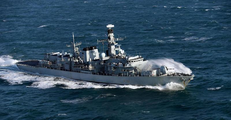 HMS Sutherland, which will escort two Russian warships as they pass through the English Channel (PA)