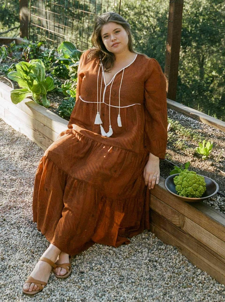 """$298, Christy Dawn. <a href=""""https://christydawn.com/collections/the-extended-sizing-collection/products/the-paloma-dress-extended-pumpkin-paisley"""" rel=""""nofollow noopener"""" target=""""_blank"""" data-ylk=""""slk:Get it now!"""" class=""""link rapid-noclick-resp"""">Get it now!</a>"""