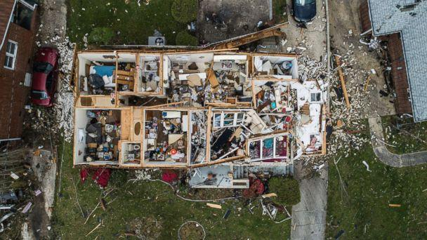 PHOTO: An aerial view of significant damage to a home in Greensboro, N.C.,April 16, 2018. (Travis Long/The News & Observer/AP)