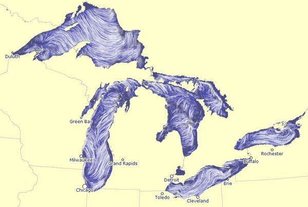 A screenshot, taken on the afternoon of Oct. 3, 2012, of a new map that visualizes the surface currents on the Great Lakes.