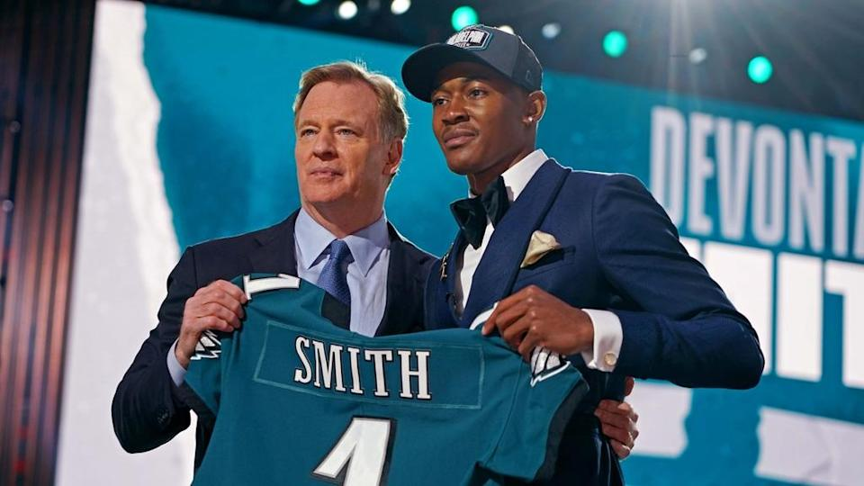 DeVonta Smith with Roger Goodell at NFL Draft