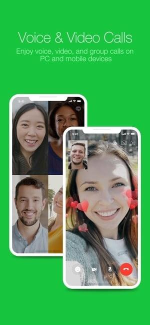 Screenshot of Line Messaging app saying 'Voice and Video Calls'