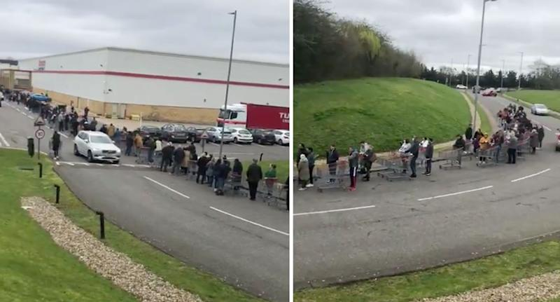 Hundreds of shoppers line up outside of Costco in the UK.