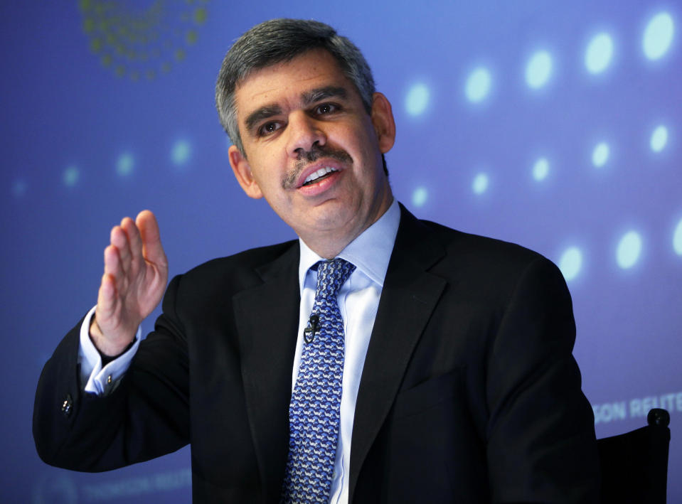PIMCO's Chief Executive Officer and Co-Chief Investment Officer Mohamed El-Erian speaks during an interview at Thomson Reuters in New York March 31, 2011. PIMCO would reconsider buying back U.S. government debt, including Treasuries, if the Newport Beach, Calif. firm sees value in them again, El-Erian said on Thursday.                               REUTERS/Shannon Stapleton (UNITED STATES - Tags: BUSINESS)