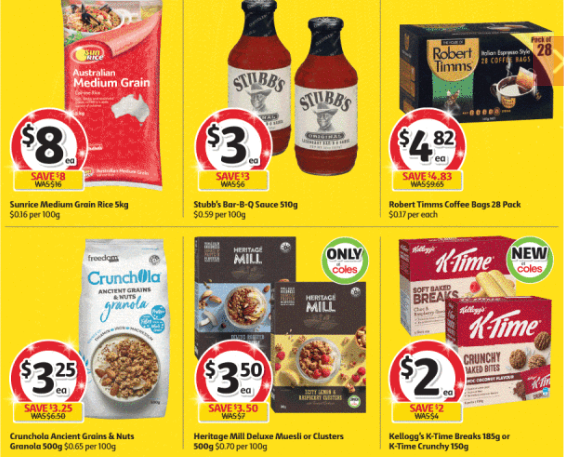 Rice, sauce, coffee, cereal and breakfast bars selling for half-price at Coles.