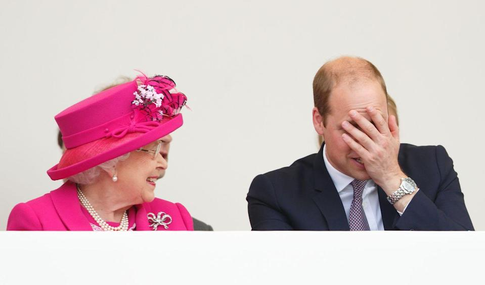 """<p>""""Oh granny, did you really just say that?!"""" is precisely what we imagine Prince William is saying with this hand on the face gesture. </p>"""