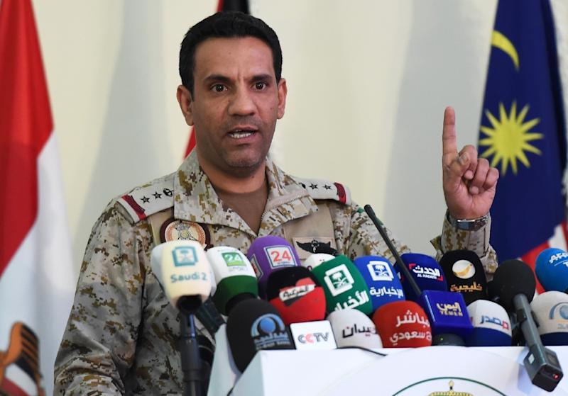 Turki Al-Malki, spokesman for the Saudi-led coalition battling rebels in Yemen, gives a press conference at the King salman airbase in Riyadh on November 5, 2017 (AFP Photo/FAYEZ NURELDINE)