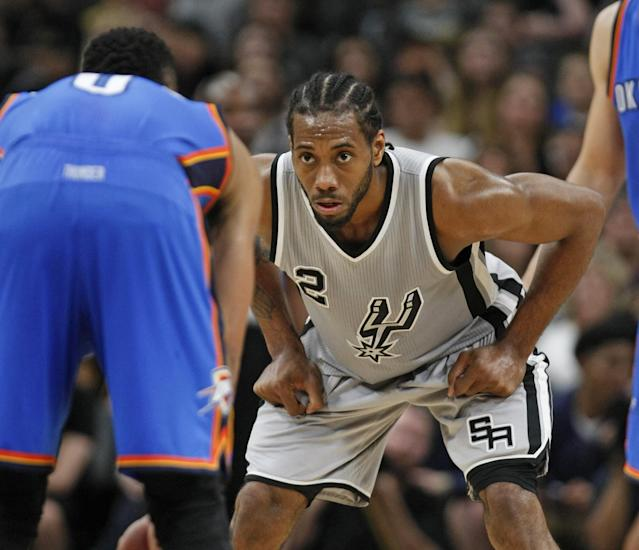 "<a class=""link rapid-noclick-resp"" href=""/nba/players/4896/"" data-ylk=""slk:Kawhi Leonard"">Kawhi Leonard</a> wants what you have, and he's coming to get it. (Getty Images)"