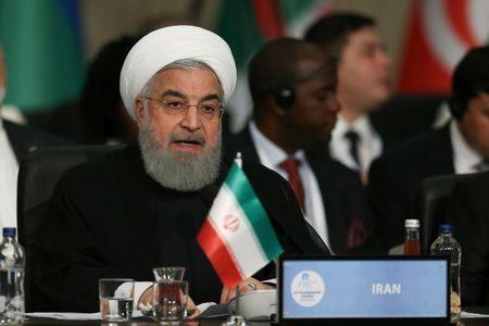 Iran's President Rouhani speaks during an extraordinary meeting of the OIC in Istanbul