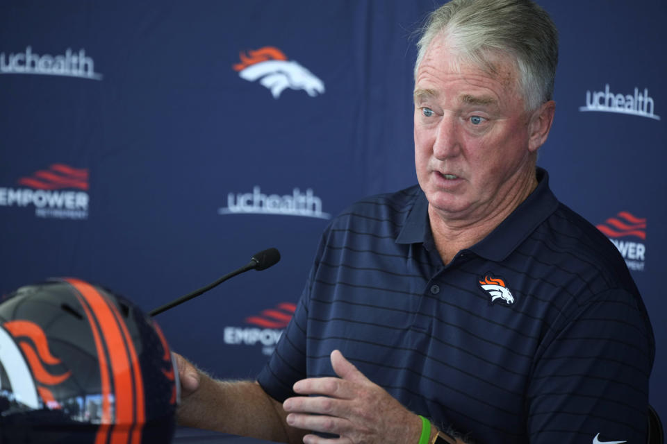 Joe Ellis, president of the Denver Broncos, speaks during a news conference Tuesday, July 27, 2021, in Englewood, Colo., as the NFL football team was preparing for training camp. (AP Photo/David Zalubowski)