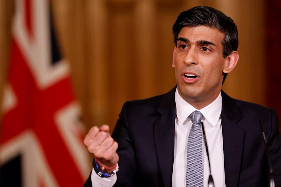 Chancellor of the Exchequer, Rishi Sunak during a press conference in 10 Downing Street, London, following the 2021 Budget in the House of Commons. Picture date: Wednesday March 3, 2021.