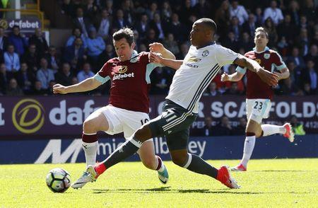 Britain Football Soccer - Burnley v Manchester United - Premier League - Turf Moor - 23/4/17 Manchester United's Anthony Martial scores their first goal Action Images via Reuters / Jason Cairnduff Livepic