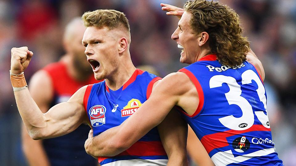 Adam Treloar booted two goals in a scintillating second quarter to bring the Bulldogs back into the grand final contest against Melbourne. (Photo by Daniel Carson/AFL Photos via Getty Images)