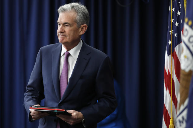 Federal Reserve Chair Jerome Powell arrives to a news conference after the Federal Open Market Committee meeting, Wednesday, June 13, 2018, in Washington, D.C. (AP Photo/Jacquelyn Martin)