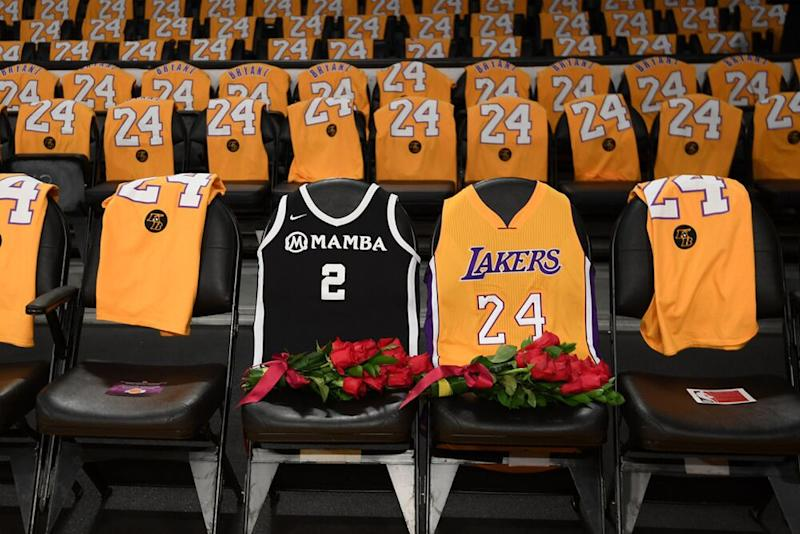 Courtside seats with Gianna's and Kobe Bryant's jerseys | Harry How/Getty Images