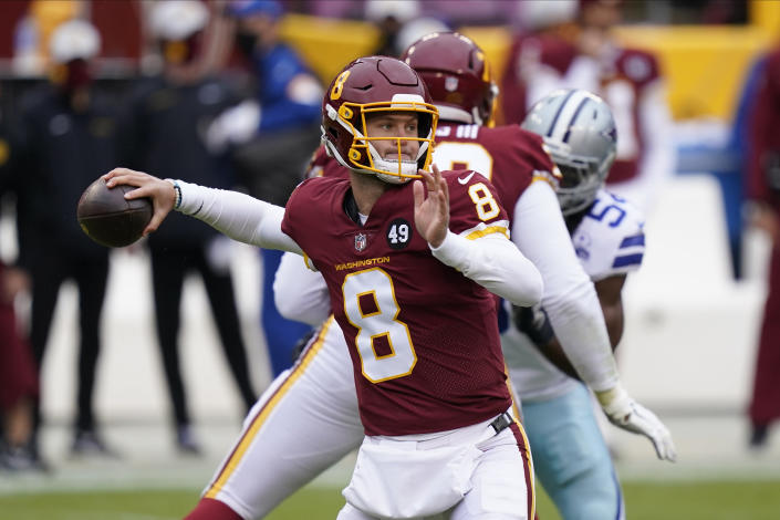Washington Football Team quarterback Kyle Allen (8) passing the ball in the first half of an NFL football game against Dallas Cowboys, Sunday, Oct. 25, 2020, in Landover, Md. (AP Photo/Patrick Semansky)
