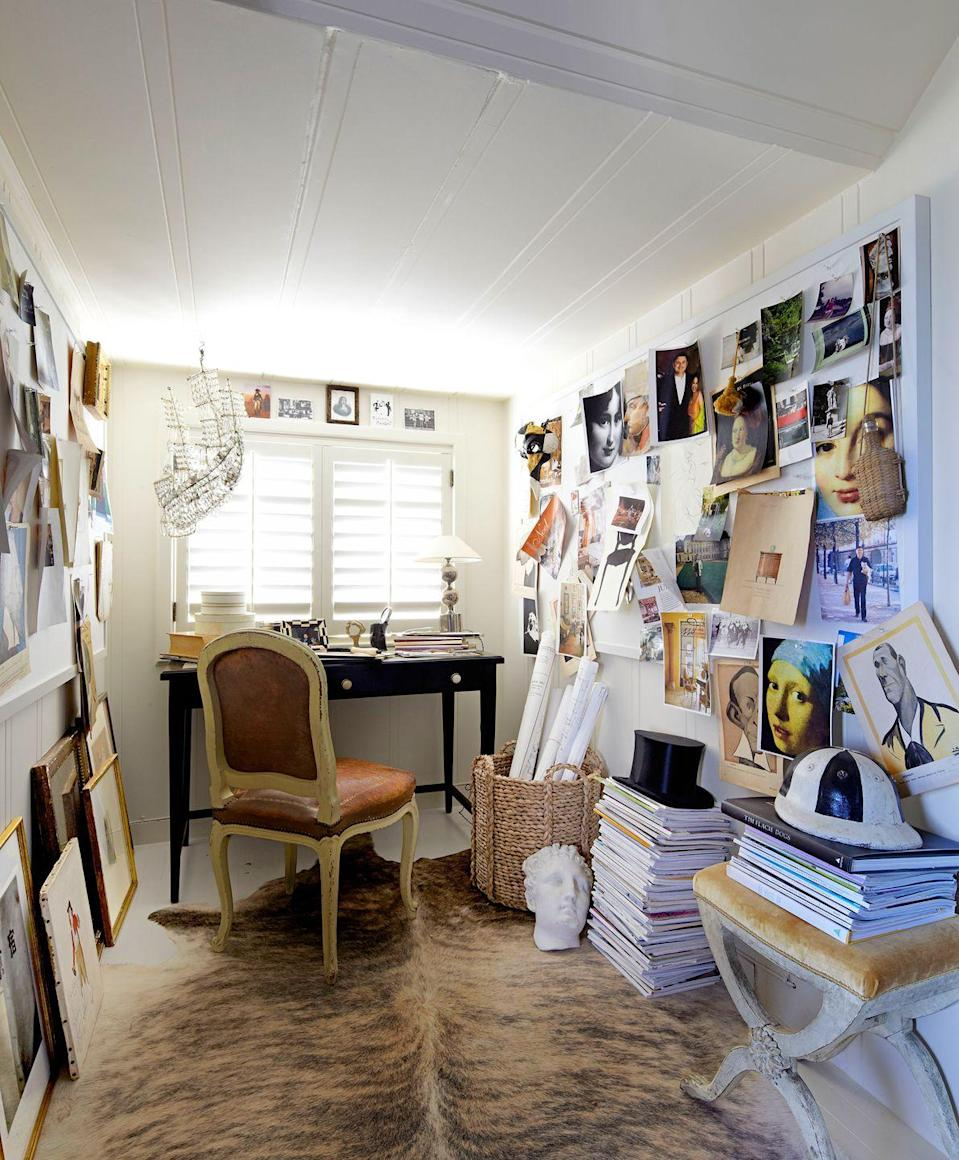 <p>Take over a walk-in closet or head upstairs to an attic to find a quiet place to get creative. Lay out an area rug to anchor the space and warm it up, dedicate your walls to mood boarding and brainstorming, and hang a whimsical light that sparks the imagination.</p>