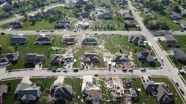 PHOTO: Damaged homes and debris mark the path of a tornado that struck Celina, Ohio, as seen from the air, May 28, 2019. (Ryan Snyder/Daily Standard via AP)