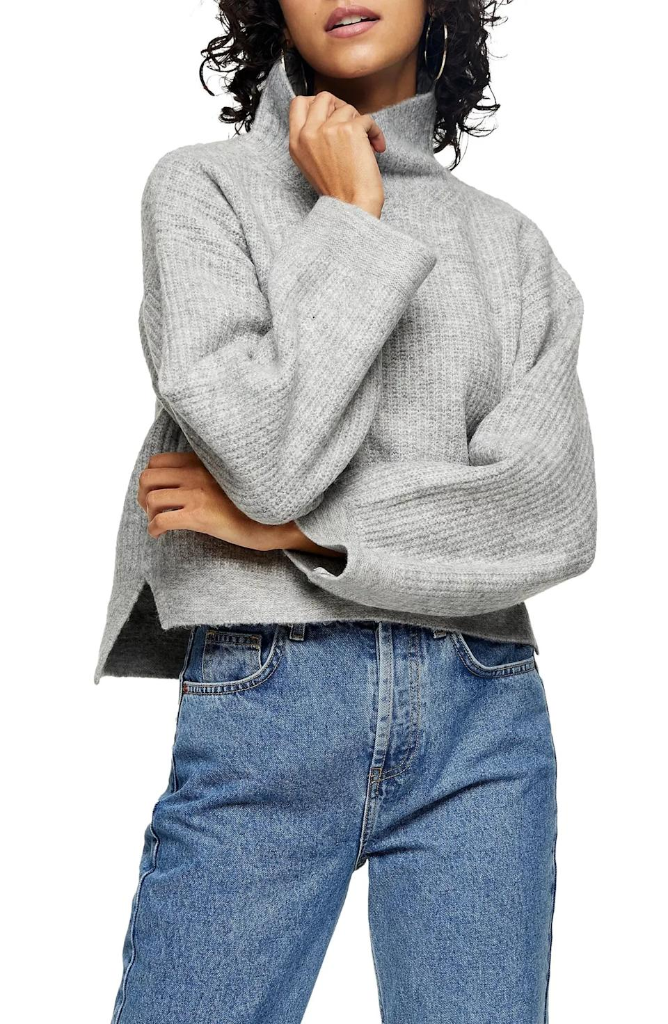 "<a href=""https://fave.co/3633wDn"" target=""_blank"" rel=""noopener noreferrer"">This mock neck sweater</a> is available in sizes XS to XL in two colors. Find it for $60 at <a href=""https://fave.co/3633wDn"" target=""_blank"" rel=""noopener noreferrer"">Nordstrom</a>."