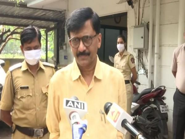 Shiv Sena MP Sanjay Raut speaking to the reporters on Friday (Photo/ANI)