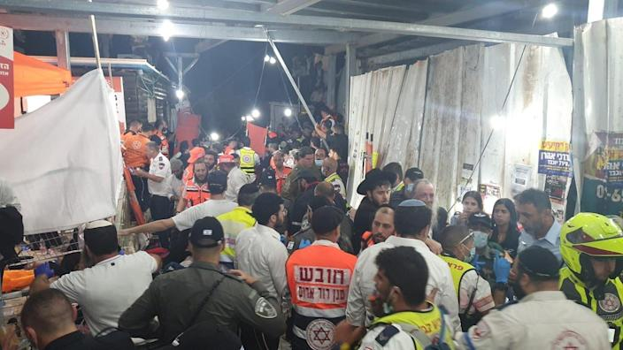 Handout picture from emergency services showing rescue efforts at Mount Meron after the stampede (Magen David Adom)