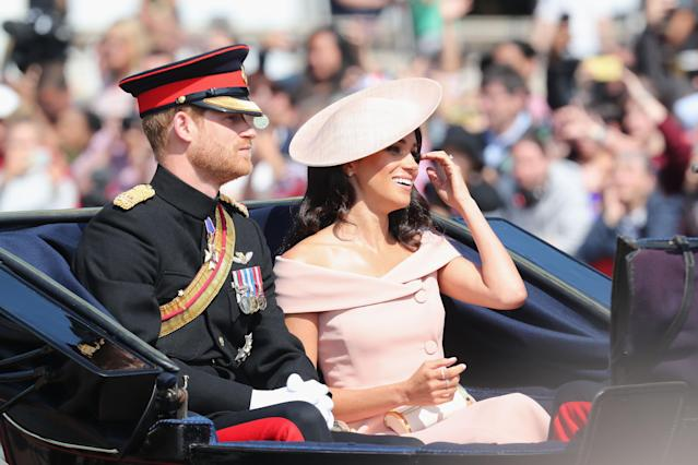 The Duke and Duchess of Sussex on their way to the Trooping of the Colour in a carriage. (Photo: Getty Images)