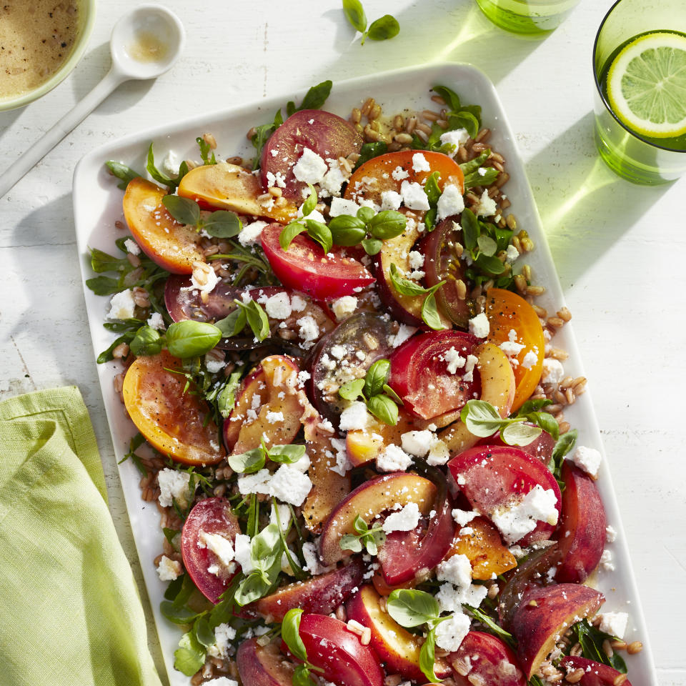 "<p>Nutty grains, peak-season produce, and sweet stone fruit make this pretty salad an ideal side for simple roasted chicken or sautéed salmon. Ricotta salata is a pressed, salted, and aged version of ricotta. If it's difficult to find at the local grocery, substitute feta; however, be aware feta will be a bit saltier. If heirloom tomatoes are not available, opt for whatever looks best and is in season at the market.</p><strong><a rel=""nofollow"" href=""http://www.myrecipes.com/recipe/farro-heirloom-tomato-peach-salad"">Recipe: Farro, Heirloom Tomato, and Peach Salad</a> </strong>"