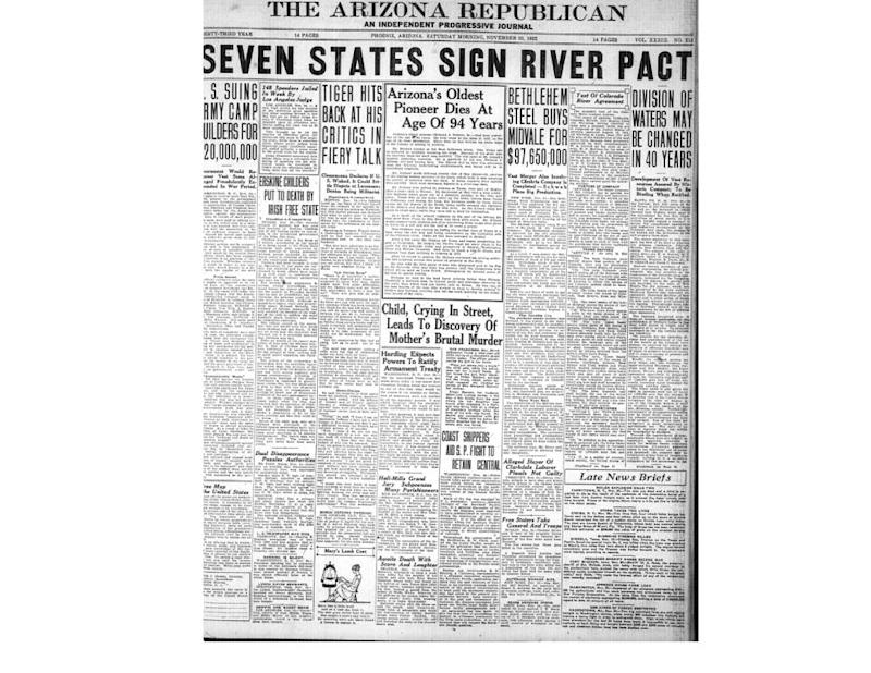 """The Arizona Republican in 1922 detailed how the Colorado River Compact would protect Arizona's """"vast resources."""""""