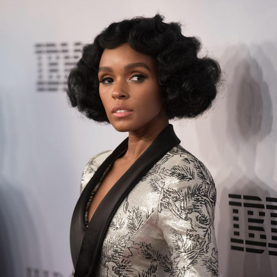 """<p><strong>Janelle Monae</strong>'s curled bob is all about <a href=""""https://www.goodhousekeeping.com/beauty-products/g33834712/best-curl-creams/"""" rel=""""nofollow noopener"""" target=""""_blank"""" data-ylk=""""slk:super soft texture"""" class=""""link rapid-noclick-resp"""">super soft texture</a>. This classic look can be achieved by twisting your natural hair into <a href=""""https://www.goodhousekeeping.com/beauty/hair/g24270258/hairstyles-for-black-girls/"""" rel=""""nofollow noopener"""" target=""""_blank"""" data-ylk=""""slk:bantu knots"""" class=""""link rapid-noclick-resp"""">bantu knots</a> overnight and letting them loose in the morning. </p>"""