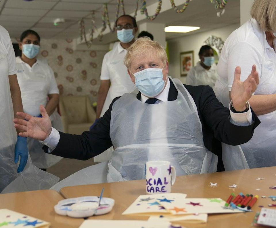 Prime Minister Boris Johnson during a visit to Westport Care Home in Stepney Green, east London (Paul Edwards/The Sun/PA) (PA Wire)