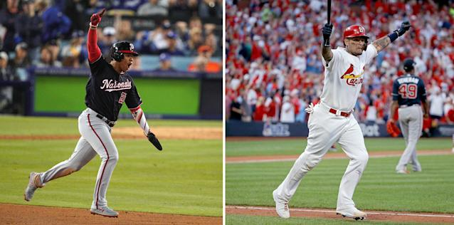 Juan Soto and Yadier Molina are each trying to lead their teams to the World Series. (Getty Images)