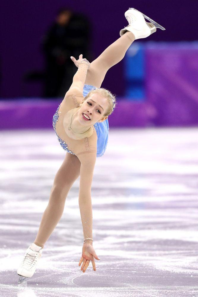 Figure skater Bradie Tennell competing in the women's individual free skate at the 2018 Winter Olympics