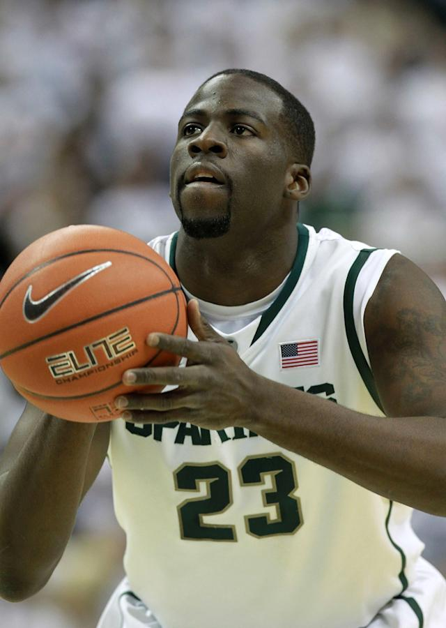 EAST LANSING, MI - MARCH 04: Draymond Green #23 of the Michigan State Spartans shoots a fould shot during the first half of the game against the the Ohio State University during the first quarter of the game at Breslin Center on March 4, 2012 in East Lansing, Michigan. (Photo by Leon Halip/Getty Images)