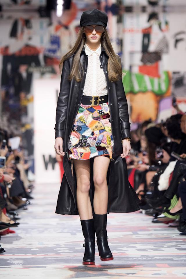 "Miniskirts, an emblem of '60s ""youthquake"" fashion, were a staple at Dior Fall 2018. (Photo: Getty Images)"