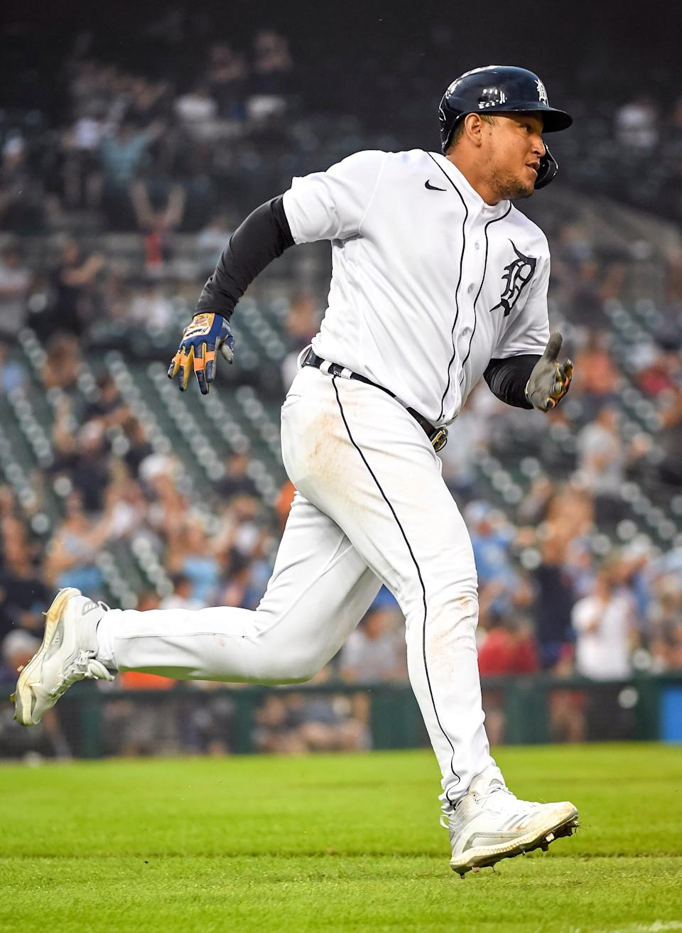 Tigers first baseman Miguel Cabrera runs during his double hit against the Texas Rangers during the bottom of the fifth inning at Comerica Park on Monday, July 19, 2021.