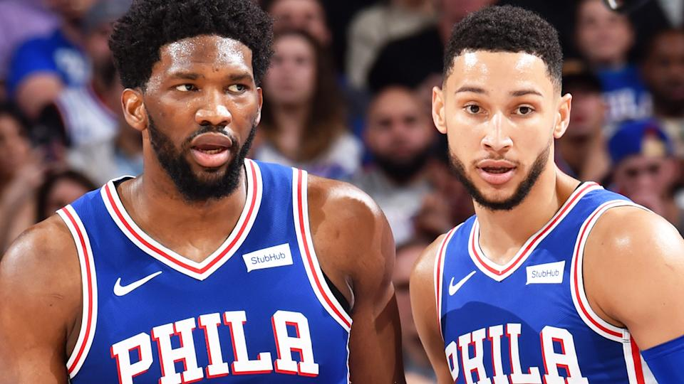 Joel Embiid took to Twitter to hose down rumours of a feud between himself and Philadelphia 76ers teammate Ben Simmons, amid a turbulent off-season for the team. (Photo by Jesse D. Garrabrant/NBAE via Getty Images)