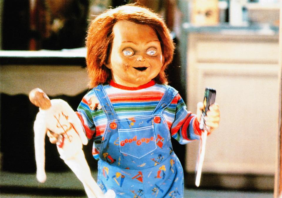 "<p>You might think a murderous doll is more silly than scary, but that means you probably haven't met Chucky. </p> <p><a href=""https://www.amazon.com/Childs-Play-Catherine-Hicks/dp/B000IZ21BS"" rel=""nofollow noopener"" target=""_blank"" data-ylk=""slk:Available to rent on Amazon Prime Video"" class=""link rapid-noclick-resp""><em>Available to rent on Amazon Prime Video</em></a></p>"